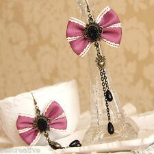 Handmade Violet Bowknot Bow Tie Heart Tassel Floral Stone Pearl Earrings Dangle
