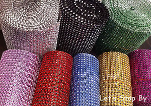 Diamond Rhinestone Ribbon Mesh Wrap Wedding Party Floral Decorations Supplies