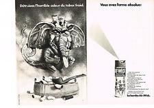 PUBLICITE   1970   AIR WICK   bombe détruisez l'odeur du tabac froid ( 2 pages)