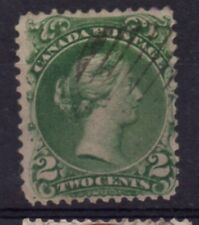 Canada Sc 24 1868 2 c green Large Queen Victoria stamp used Free Shipping