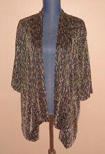 JM Collection Woman Metallic Gold Animal Pattern Open Cardigan Jacket Size 1X