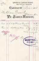 JAMES HENDRY, Laminated Leather Works, Glasgow 1905 Goods Paid Invoice Ref 49234
