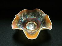 """Dugan/Diamond Holly and Berry Peach Opal/Opalescent 8"""" Carnival Glass Bowl"""