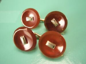 -Red Faceted Edge Quality Double Sided Vintage Victorian Cuff Links