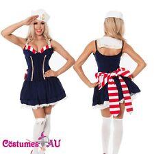Ladies Sailor Navy Blue Costume Uniform Pin Up 50s Rockabilly Moon Fancy Dress