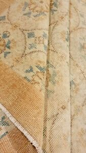 Antique Cr1930-1949's Natural Dye Distressed Wool Pile Oushak Area Rug 7x10ft