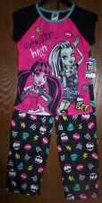 MONSTER High Pajamas Girl's 7/8 NeW Shirt Pants Pjs Set Draculaura Frankie Stein