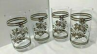 "Set 4 Pfaltzgraff Brown Village Glass Tumblers Coolers Libbey 16 Oz 5-5/8"""