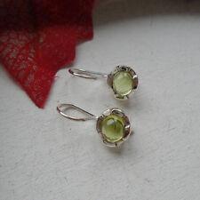 Peridot, rund, grün, Blüte, schlicht, Ohrringe, Ohrhänger, 925 Sterling Silber