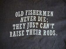 Vintage Old Man Funny Fishermen fishing sex joke T Shirt Men's Size L