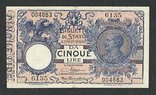 Italy Lire 5 q FDS /a UNC VITTORIO EMANUELE III Decr. 20-12-1925 RRR 3 Rara !!!