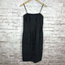 JS Collections Solid Black Spaghetti Strap Dress with Scarf Size 8 Excellent