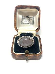 Beautiful Vintage Sterling Silver 925 Labradorite & Zircon Ring Size P 5g #683