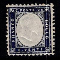 Italy 1862 Sass. 2 MNH 40% signed Cardillo, 20 c, V. Emmanuel II