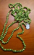 "Necklace Pearl Genuine Freshwater Baroque 70"" 5-6mm Grass Green NEW"