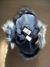 Hat Mens Plain Grey Nylon & Faux Fur Hat F & F Large to Extra Large New + Tag