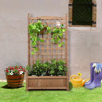 Rustic Fir Wood Holder Shelf for Potted Climbing Plants or Greenery in Yard