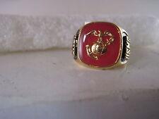 Usmc Marines logo ring closed back size 10