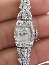 "Vintage Platinum Hamilton Diamond Watch 6.25"" 2.25Ct"