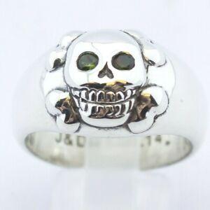 Stephen Einhorn Smiling Skull Ring Silver With Brilliant Cut Emeralds Size U 1/2