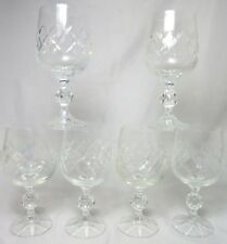 Bohemia Crystal BOC9 Wine Glasses Criss Cross Textured Foot 6 Inches Set Of 6