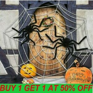 Hairy Giant Spider Decoration Halloween Prop Haunted House Party Decor DY