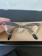 Vintage Bausch & Lomb Cateye Sexy Librarian Eyeglasses Nerd Frames Gray 46-20