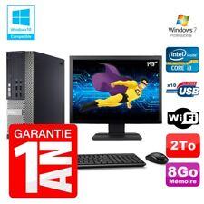 """PC Dell 7010 SFF Intel I3-2120 RAM 8gb Disco 2To DVD Wifi W7 Pantalla 19"""""""
