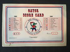 1986 University Of Florida UF GATORS Football Score Card Decal Sticker Postcard