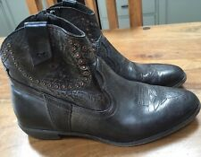 Western Cowboy Cowgirl Full Leather Ankle Boots Shoes 40s 50s Rockabilly Retro 5