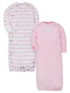 New Gerber Baby Girls Organic Lap Shoulder Gowns Bear Patch 2 Pack Sz 0-6 Months