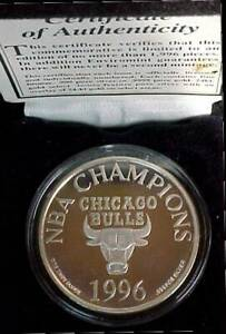 1996 Chicago Bulls Four Time NBA Champions 1oz .999 Silver Proof 38mm Medal Coin