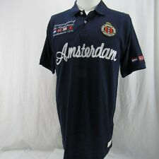 Amsterdam Polo Shirt Fox Originals Men's XXL Blue Patches and Stitched Lettering
