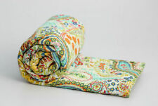 DIndian Beige Paisley Kantha Quilt Twin Bedspread Blanket Reversible Throw Ralli