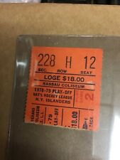1978/79 New York Islanders Playoff Home Game 2 Seat 12 Ticket Stub