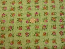 Quilting Tessuto Rosa & GIALLO ROSE VERDE PALLIDO BG 100% Cotone Fat Quarter