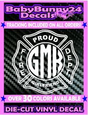 Custom girlfriend Fire Fighter Dept Decal Vinyl Sticker monogram personalized