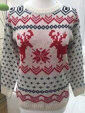 mujer crema rojo copos de nieve reno de Navidad Jersey Suéter Talla S/M