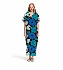 NEW! Marimekko Blue & Black Abstract Floral Print Maxi Dress S/M