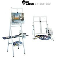 Bob Ross 2-in-1 Studio Easel Metal Four Legged Adjustable Tabletop Stand Shelf