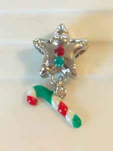 Christmas STAR Dangle CANDYCANE European Enamel Bead Charm Silver FESTIVE