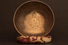 BUDDHA CARVED CHAKRA TIBETAN HAND-BITTEN HEALING SINGING BOWL MEDITATION