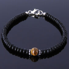 Modern Matte Black Onyx Gemstone Bracelet Brown Tigers Eye Healing Chakra Stones