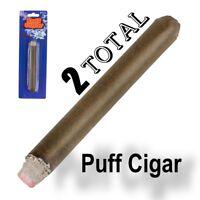2 FAKE PUFF CIGAR Smoke Powder Ash Magic Trick Joke Gag Lit Prop Prank Smoking