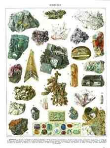 Ancienne Affiche Art Print Minéaux Or Natif Saphir Diamant Émeraude Tourmaline