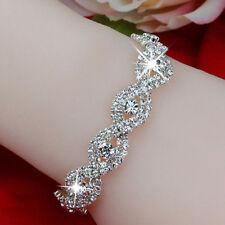 Us Elegant Women Silver Crystal Rhinestone Bangle Bracelet Jewelry Free Shipping