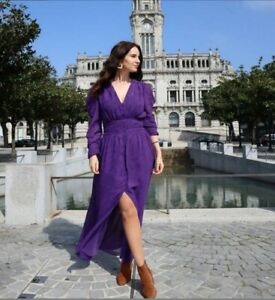ZARA PURPLE LONG DRAPED SASH EFFECT JACQUARD DRESS SIZE XS BNWT rrp £59.99