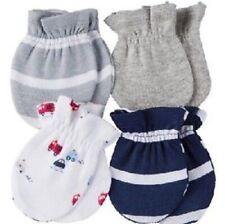 GERBER NEWBORN BABY BOY'S 4-Pack Cotton Mittens - FIRETRUCKS - Blue - NWT