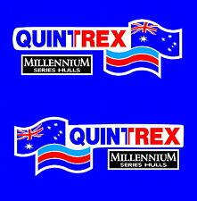 Quintrex Millennium Aussie Series Hulls White BG Boat Mirrored Sticker Decal Set