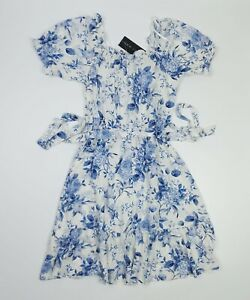 New Look Floral White / Blue Bardot Belted Dress Short Sleeve Sizes 8 12 14 BNWT